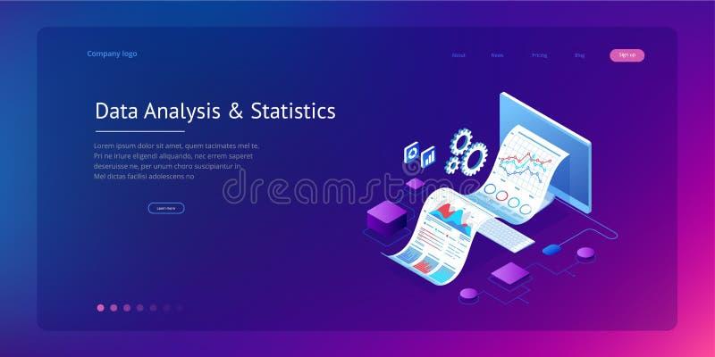 Isometriskt sakkunnigt lag f?r dataanalys, aff?rsstatistik, ledning som konsulterar, marknadsf?ring Landa sidamallen royaltyfri illustrationer