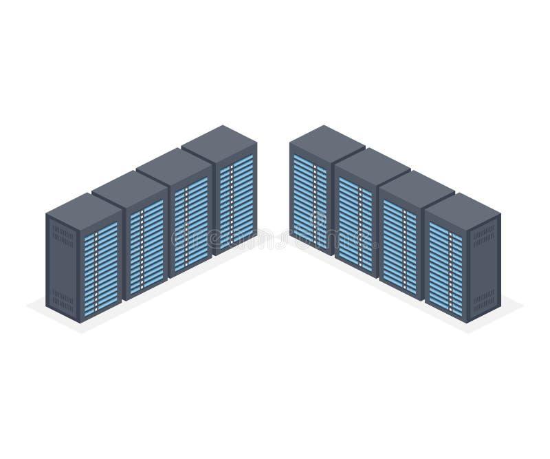 Isometriskt serverrum och stora data - bearbeta den begrepps-, datacenter- och databassymbolen, digital informationsteknik royaltyfri illustrationer