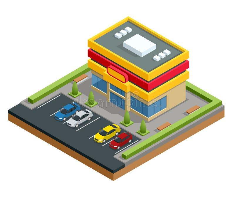 Isometriskt shoppinggalleria eller lager Parkering och shopping i stadsvektorillustration stock illustrationer