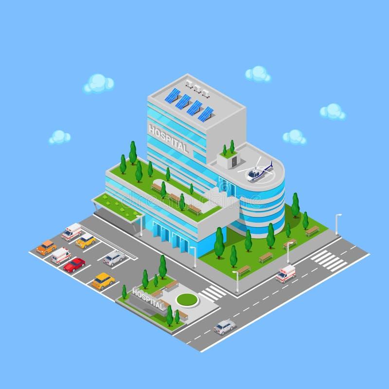 Isometriskt sjukhus Modern byggnad för vårdcentral stock illustrationer