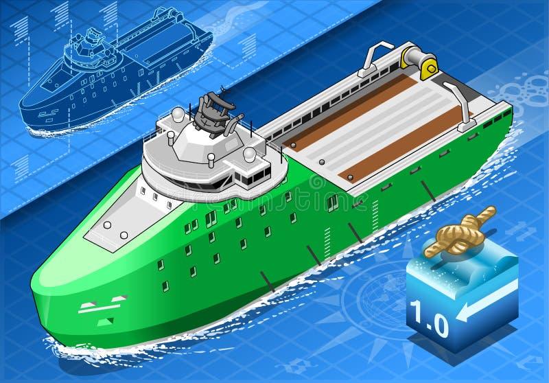Isometriskt skepp som bryter isen i navigering i Front View vektor illustrationer