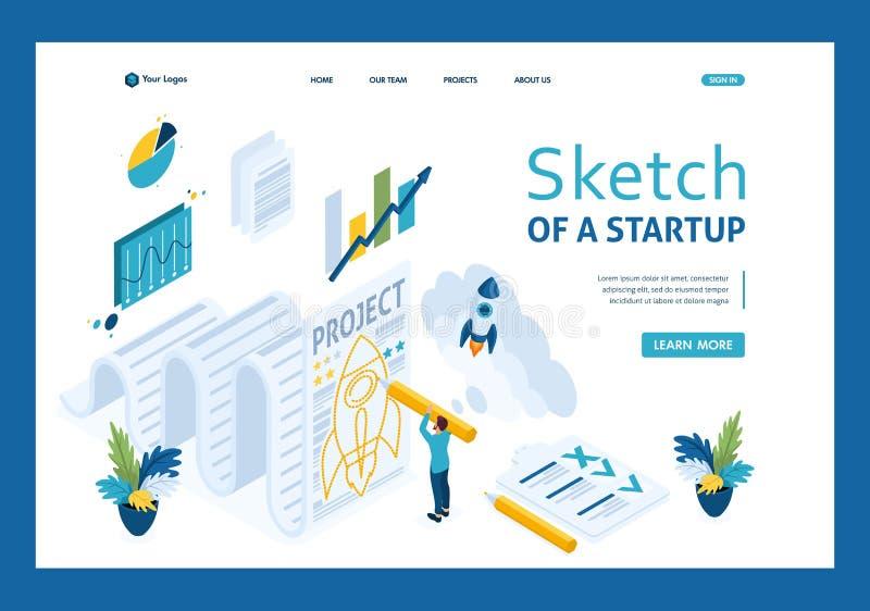 Isometriskt skissa en start, och papper, design skissar affärsmannen Malllandningsida royaltyfri illustrationer
