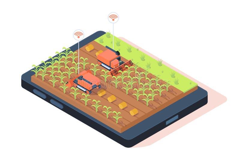 isometriskt smart lantbruk 3d med avlägsen controle stock illustrationer