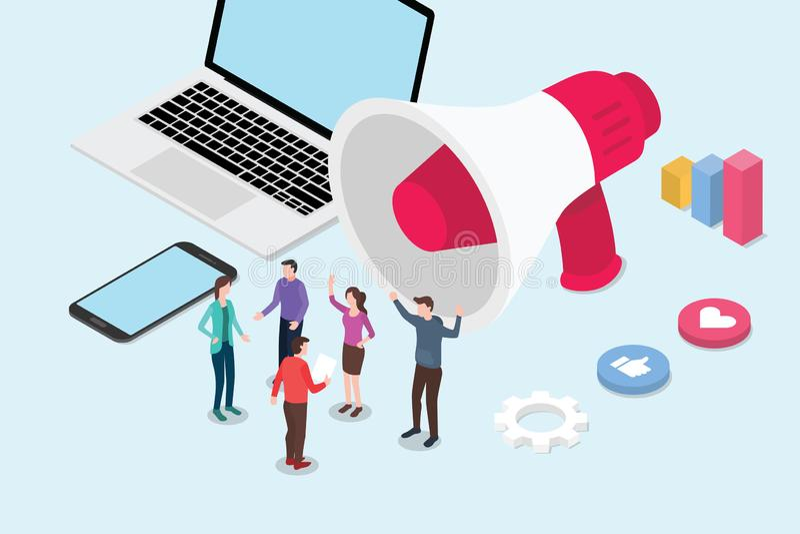 Isometriskt socialt massmedia som marknadsför begreppsaffär med lagfolk och megafon eller högtalare - vektor royaltyfri illustrationer