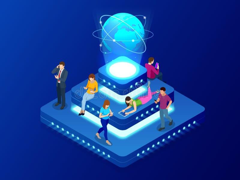 Isometriskt socialt nätverks-, teknologi-, nätverkande- och internetbegrepp Anslutning för globalt nätverk, globala datautbyten stock illustrationer