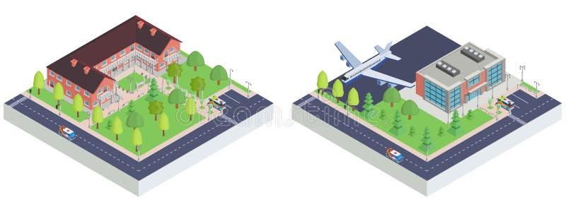 Isometriskt stadsflygplats och leksakmuseum vektor illustrationer
