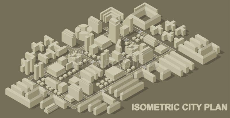 Isometriskt stadsplan stock illustrationer
