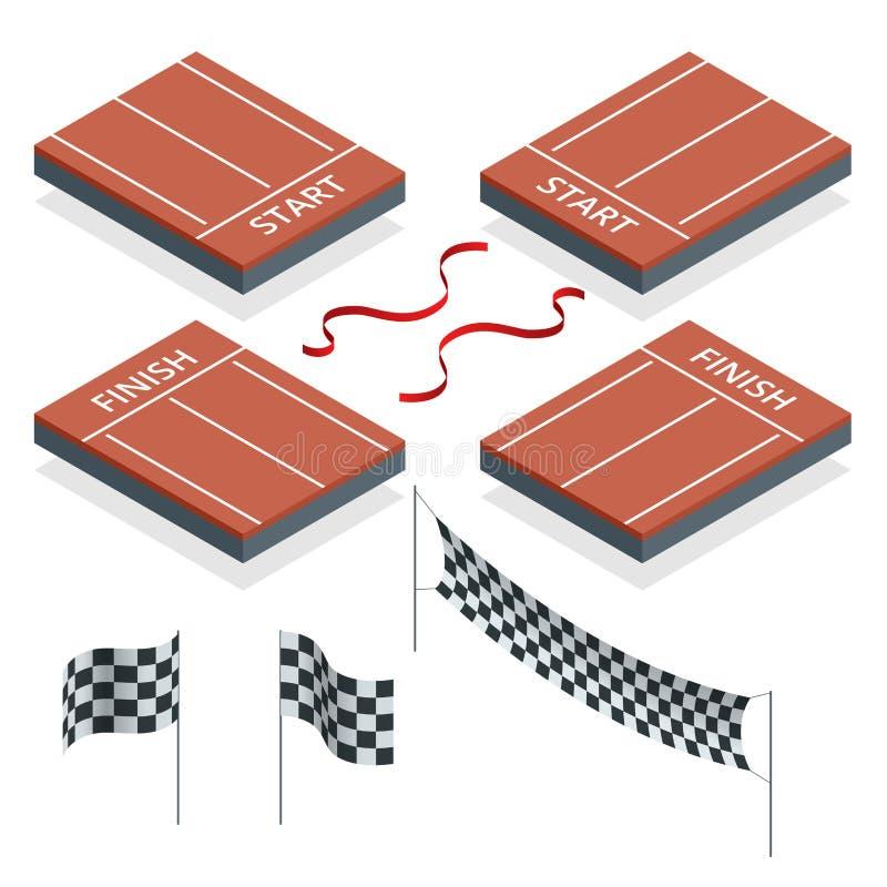 Isometriskt start och fullföljande, rutiga flaggor, vektorillustration vektor illustrationer