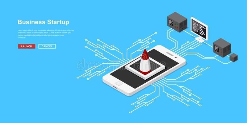 Isometriskt startup begrepp vektor illustrationer