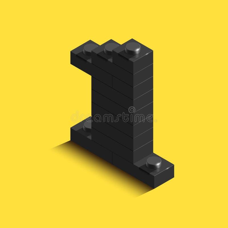 isometriskt svart nummer 3d från tegelsten på gul bakgrund nummer 3d från tegelstenar Realistiskt nummer royaltyfri illustrationer