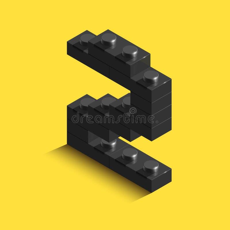 isometriskt svart nummer 3d från tegelsten på gul bakgrund nummer 3d från tegelstenar Realistiskt nummer vektor illustrationer