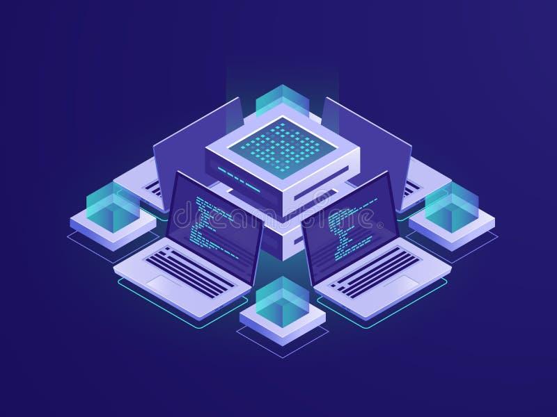 Isometriskt symbol för konstgjord intelligens, serverrum, datacenter och databasbegrepp, kodförvaringsrumtillträde, programm royaltyfri illustrationer