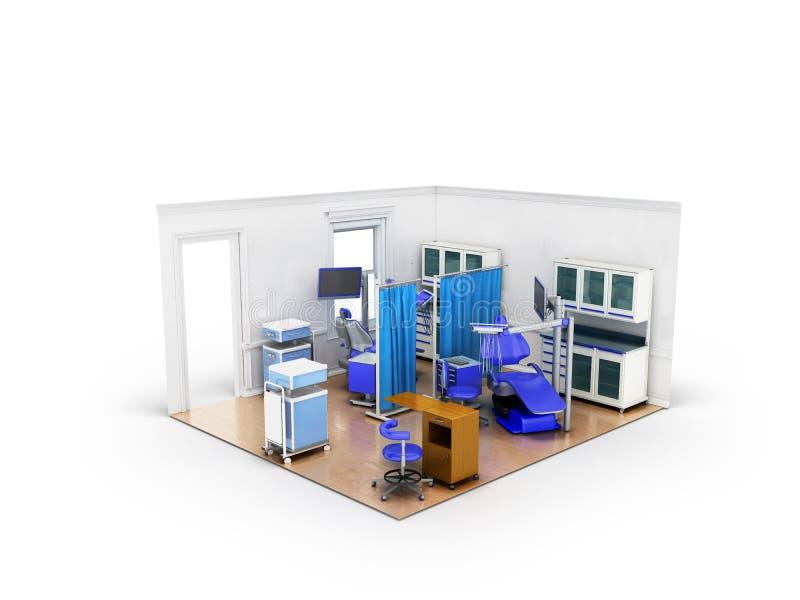 Isometriskt tand- rum med den blåa diagnostiska avdelningen för tvilling- stolar stock illustrationer