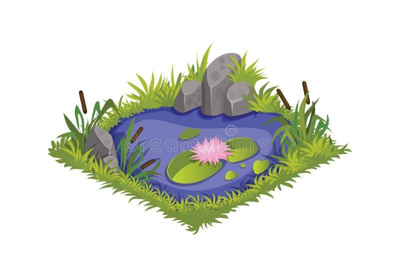 Isometriskt tecknad filmvattendamm med lösa vasser och liljor - beståndsdelar för den Tileset översikten, landskapdesign vektor illustrationer