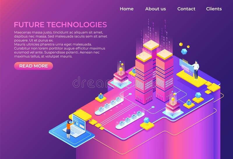 Isometriskt teknologibegrepp Bakgrund för affär 3D, modern infographic design, futuristisk webbsida Isometrisk vektor royaltyfri illustrationer
