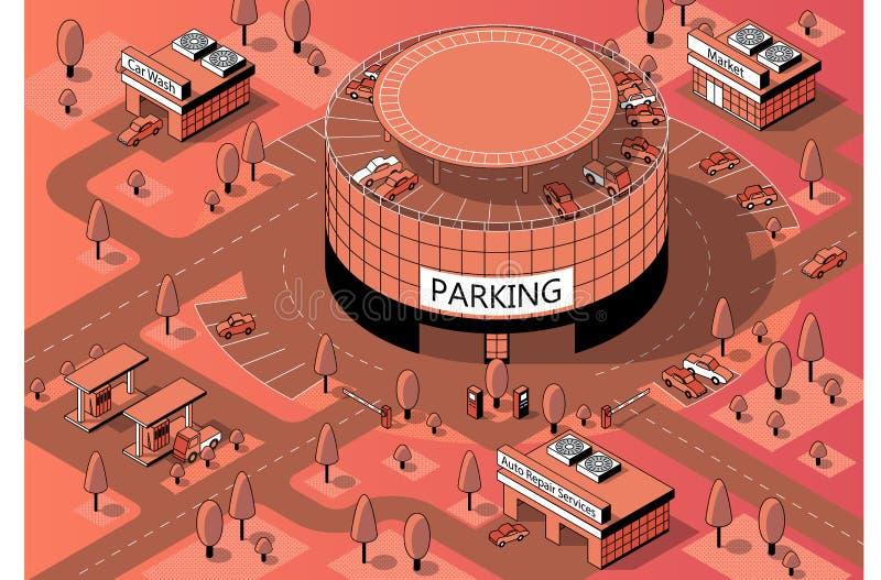 Isometriskt territorium för vektor 3d med mång--våning parkering stock illustrationer