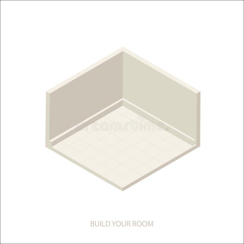 isometriskt tomt rum stock illustrationer