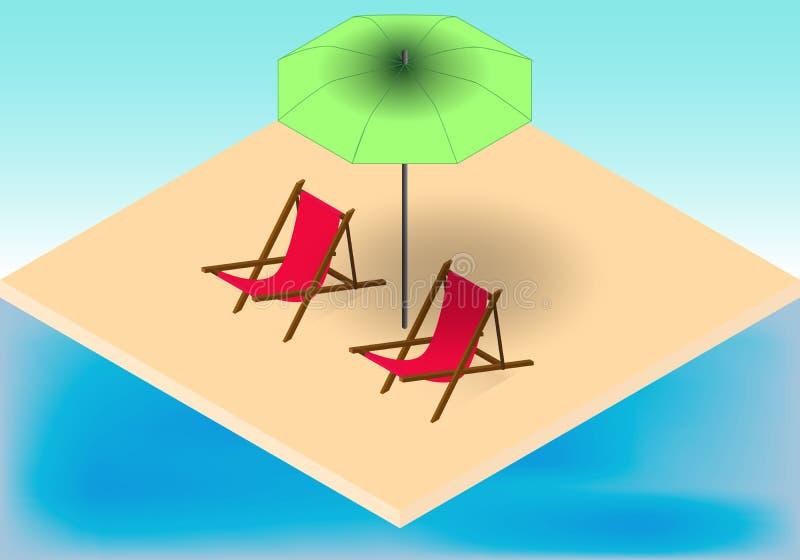 Isometriskt vändkretsstrand, fåtöljer och paraply nära ett hav stock illustrationer