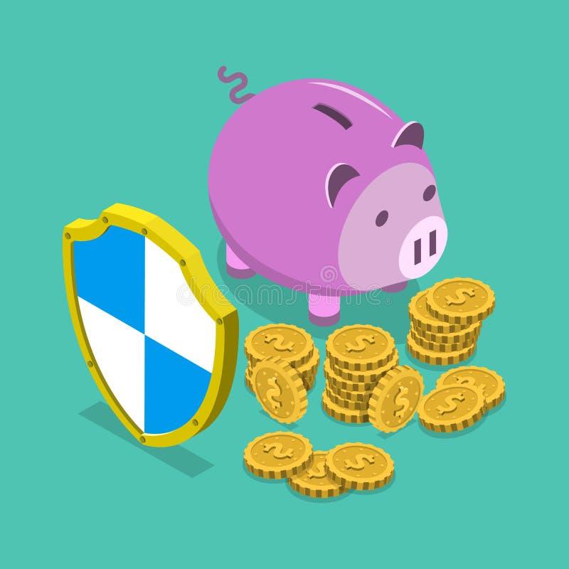 Isometriskt vektorbegrepp för säkra finansiella besparingar royaltyfri illustrationer