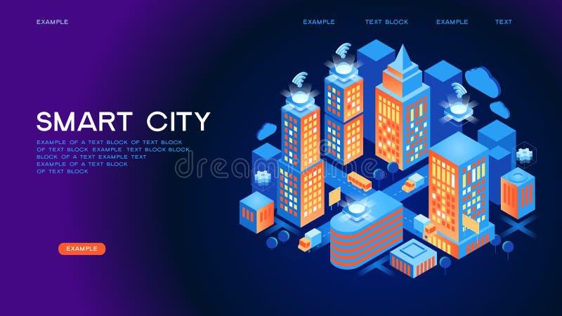 Isometriskt vektorbegrepp för smart stad eller för intelligent byggnad vektor illustrationer