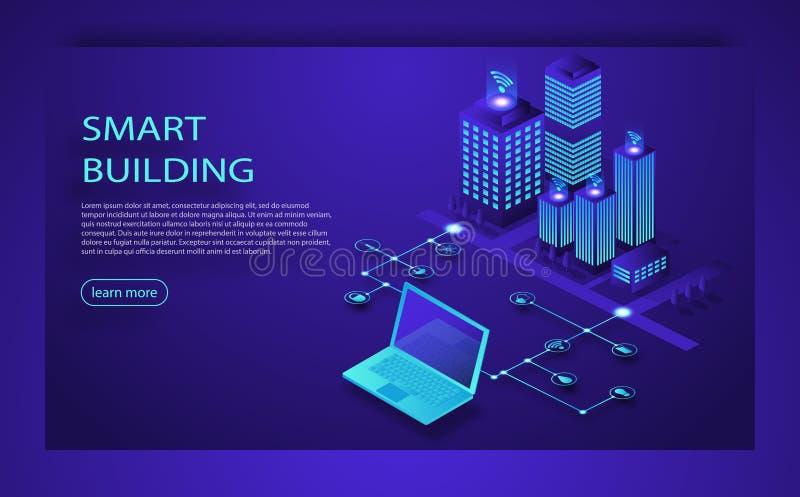 Isometriskt vektorbegrepp för smart stad eller för intelligent byggnad Teknologi för IoT plattformframtid Isometriskt begrepp för royaltyfri illustrationer