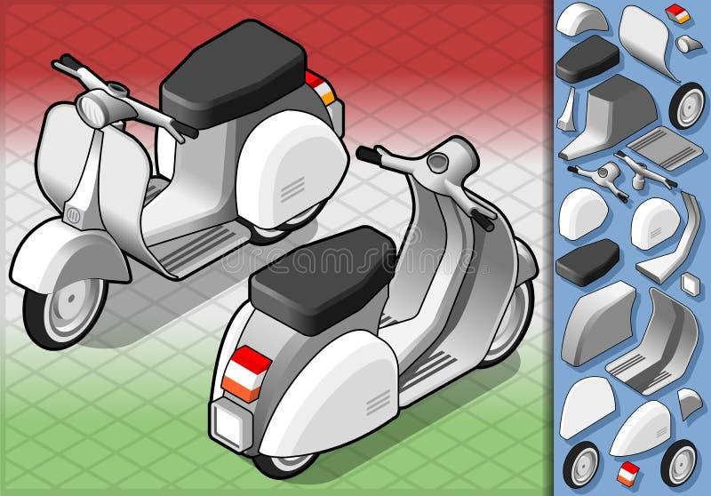 Isometriskt vitt pos. för sparkcykel itu stock illustrationer