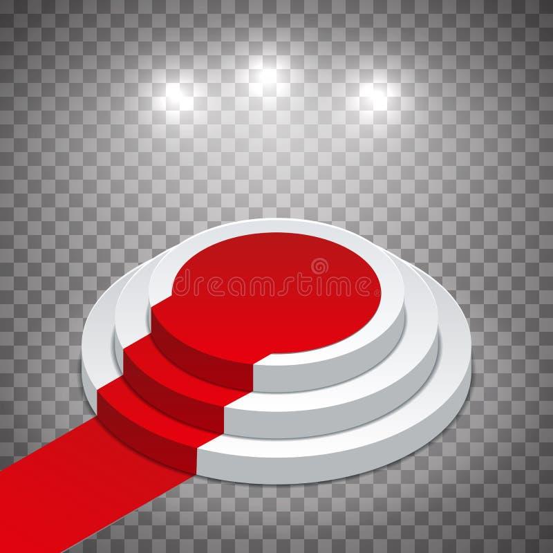 Isometriskt vitt runt podium med röd matta och strålkastare Modell p? en genomskinlig bakgrund Redigerbar vektorillustration royaltyfri illustrationer