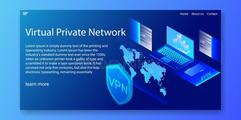 Isometriskt VPN begrepp, faktiskt privat nätverk, rengöringsdukmall, vektorillustration stock illustrationer