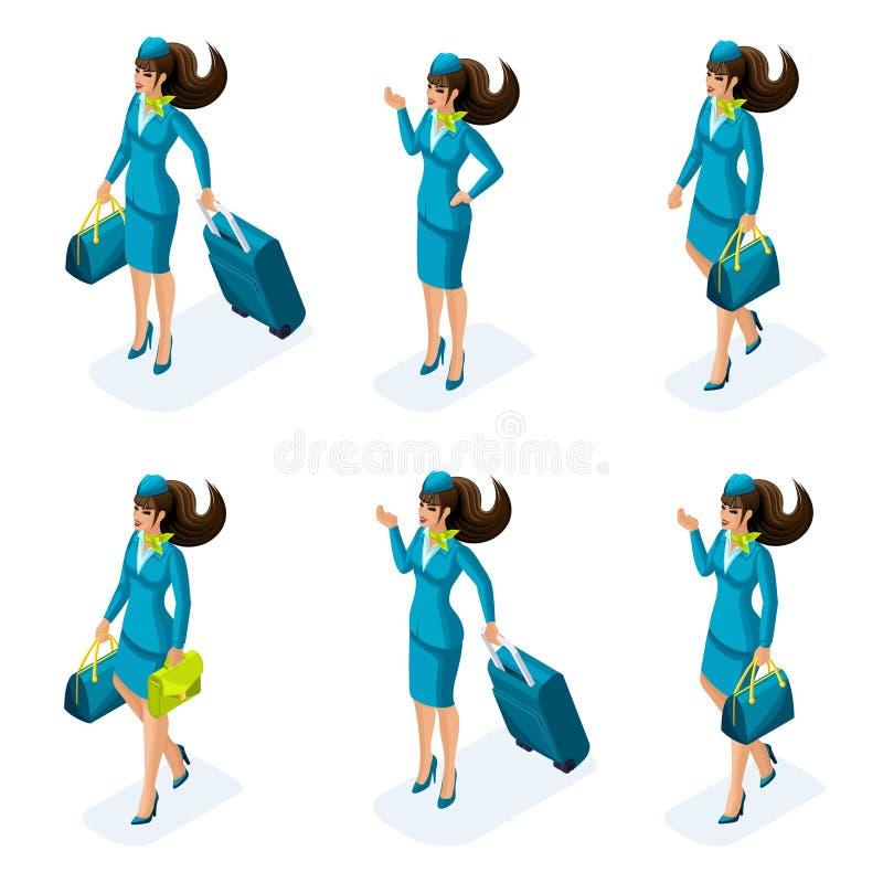 Isometry一套空中小姐的女孩,美丽的衣裳,航空旅行的手提箱 旅行,工作,国际航空公司 向量例证