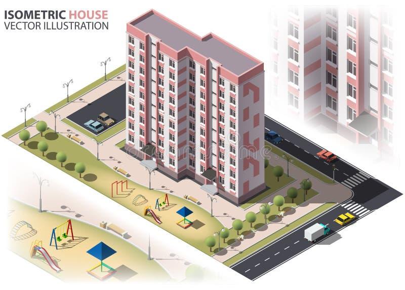 isometry公开住宅九层的大厦 向量例证