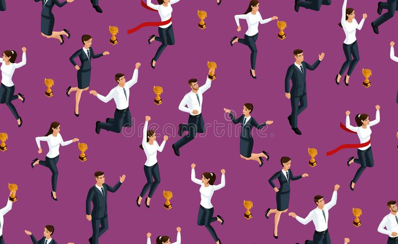 Isometry无缝的背景、3d企业夫人和商人,跳跃和高兴,获得奖,幸福的乐趣 向量例证