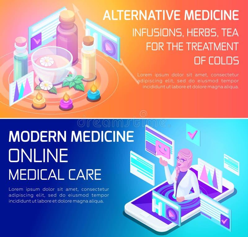 Isometry是使用的一个生动的概念医疗服务的类型,五颜六色给的想法做广告被设计的横幅 向量例证