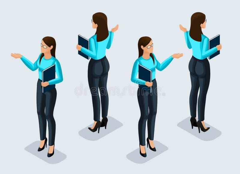 Isometry是女商人 3d办公室工作者 西装视图的女孩从在前后看法 人力图标 库存例证