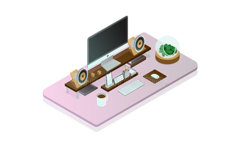 isometry理想的计算机的书桌 向量例证