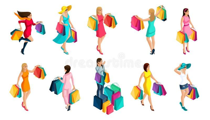 isometry购买的女孩,妇女的情感,幸福,销售,包裹,假日,黑星期五 现代女孩的时装 库存例证