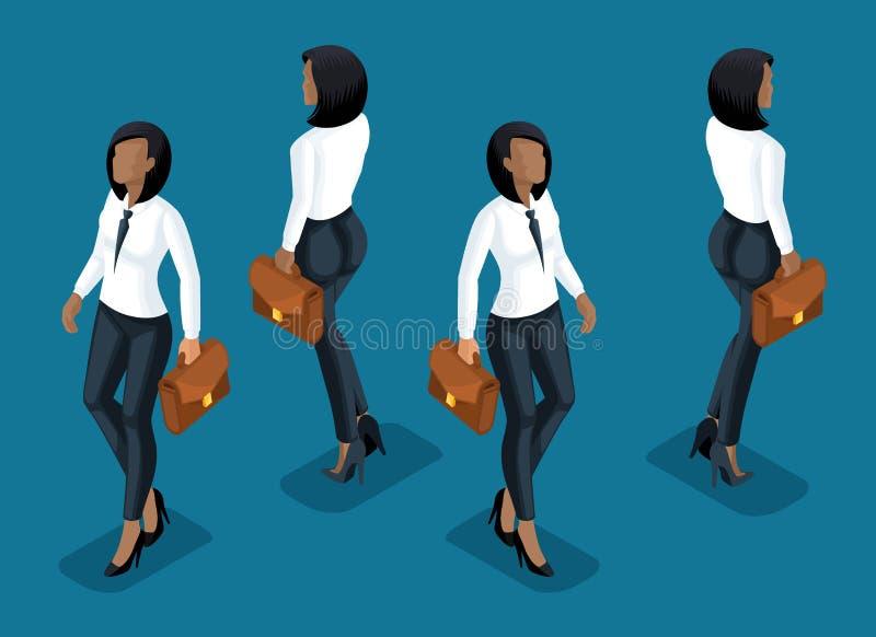 Isometry è una donna di affari un impiegato di concetto afroamericano, pantaloni di affari e una retrovisione di vista frontale d illustrazione vettoriale