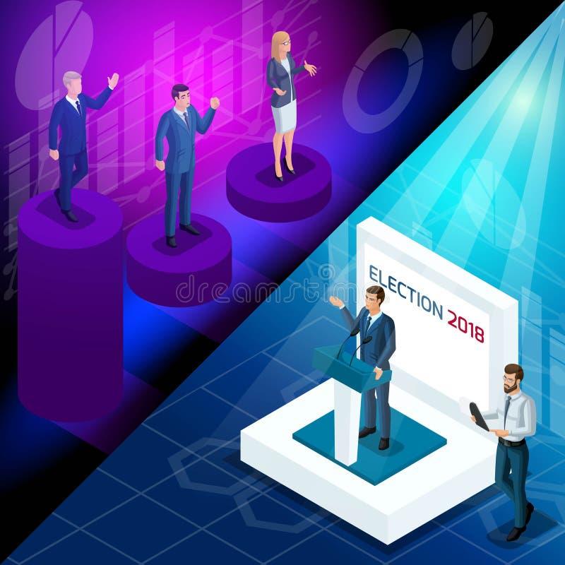 Isometry é o conceito angular de anunciar candidatos presidenciais Disputa, debate, avaliações homens 3d e mulheres ilustração stock