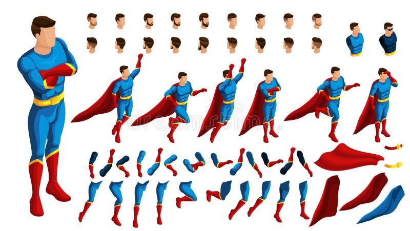 Isometry é um grupo de gestos para o movimento dos super-herói 3D ajustou-se dos gestos em um salto, em uma pálete, corridas, olh ilustração do vetor