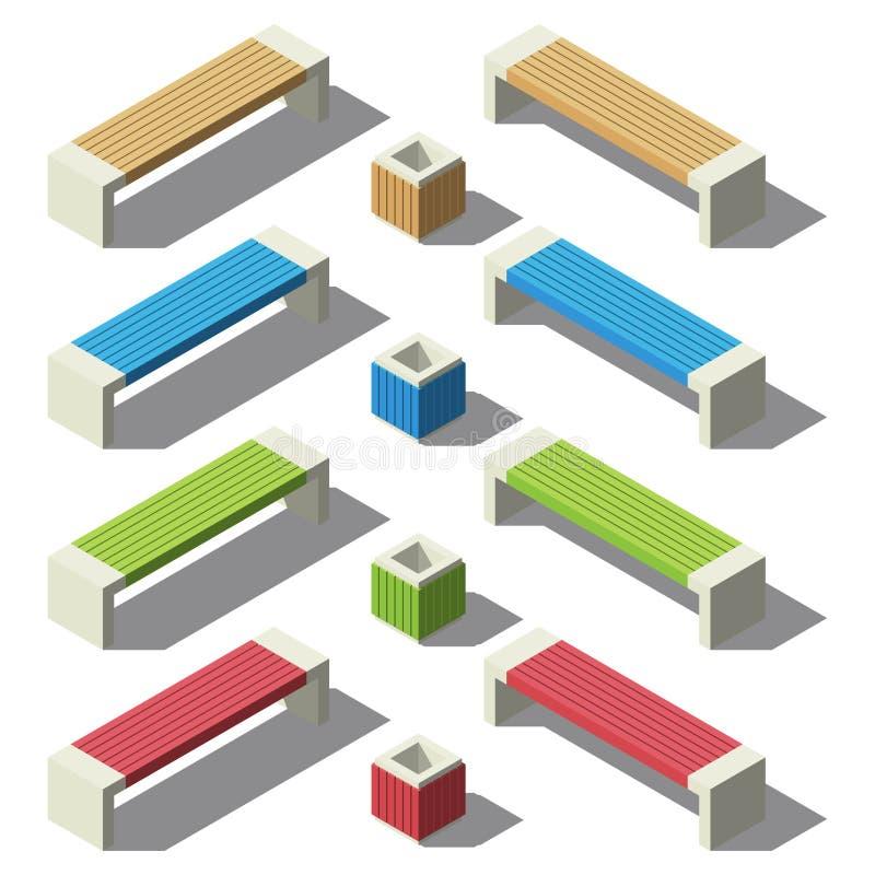 Isometry σύνολο πάγκων και δοχείων Μικρές αρχιτεκτονικές μορφές διανυσματική απεικόνιση