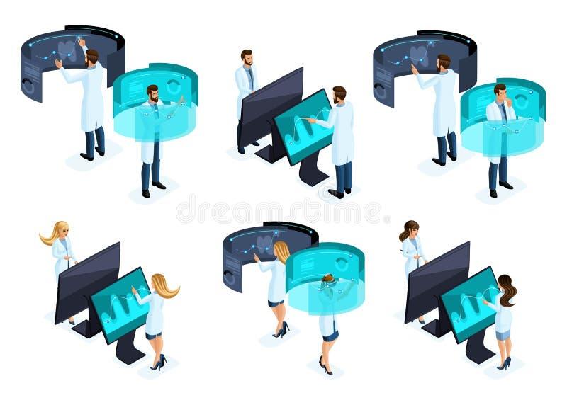 Isometry большой набор докторов используя современные технологии частной клиники, виртуального экрана, большого планшета иллюстрация штока
