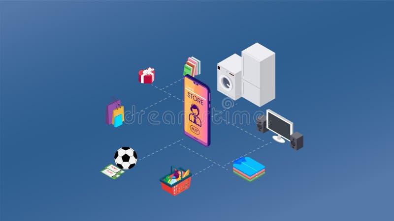 Isometry 8 различных вещей вокруг смартфона Концепция факта который все вещи приоритета на человеческая жизнь могут быть иллюстрация штока