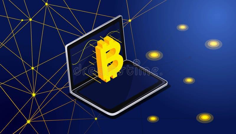 Isometry-bitcoin fliegt auf den Bildschirm vom Laptop Extraktion des bitcone Blockes, blockchain, Vektorhintergrund stock abbildung
