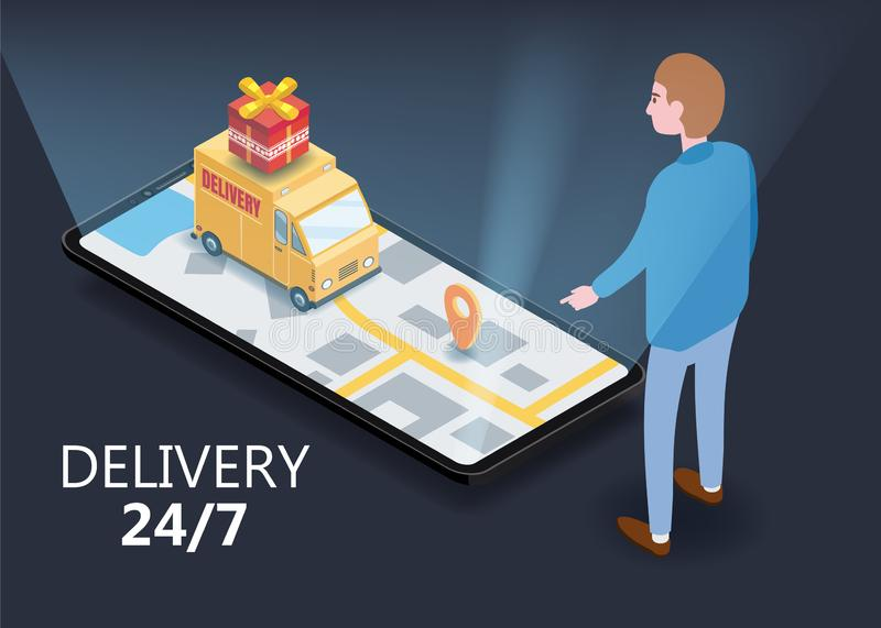 Isometry cargo delivery smartphone buyer, van, truck, route of navigation of the city map, point of delivery, vector vector illustration