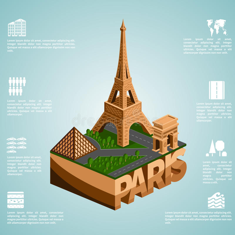 Isometry city Paris. Paris. Set of detailed isometric vector. Infographics EPS 8 vector illustration