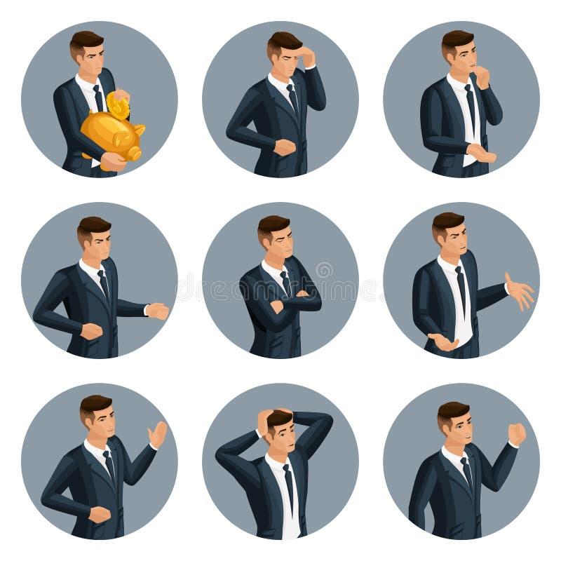 Isometry cualitativo, un sistema de hombres de negocios del avatar 3d, con gestos emocionales, cólera, alegría, desesperación ilustración del vector