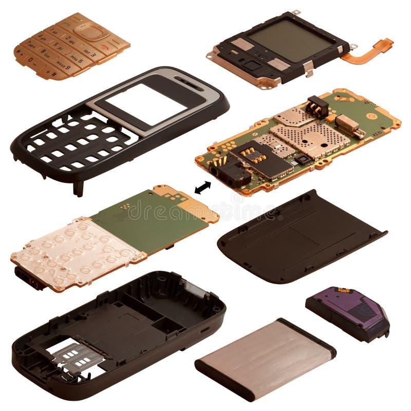 Isometry De gedemonteerde mobiele telefoon die op een witte rug wordt geïsoleerd royalty-vrije illustratie