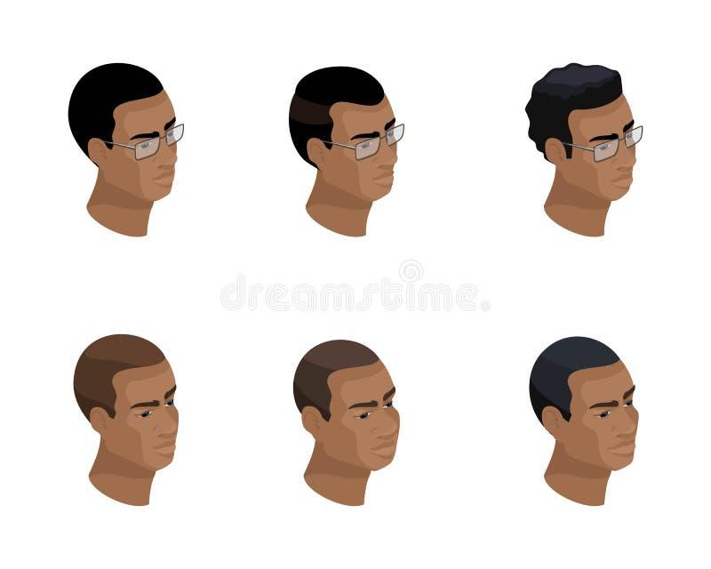 Isometry de um ícone de uma cabeça de um penteado de um afro-americano, 3D enfrenta, os olhos, bordos, as emoções de um homem ilustração royalty free