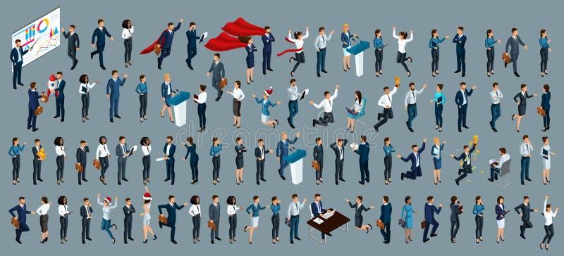 Isometry es un sistema grande de hombres de negocios y de señoras del negocio abogados 3d, economistas, presidentes, empleados de stock de ilustración