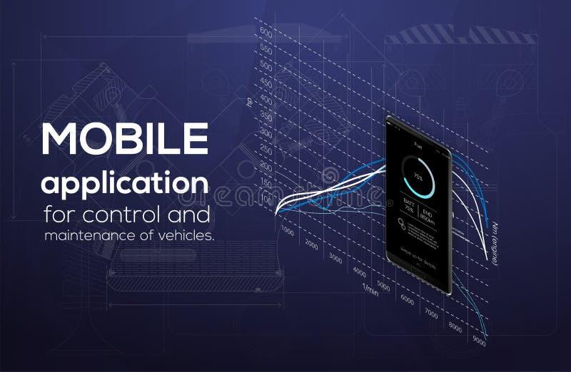 Isometry es una aplicación móvil para el smartphone, el tema del coche y los diagnósticos del coche stock de ilustración
