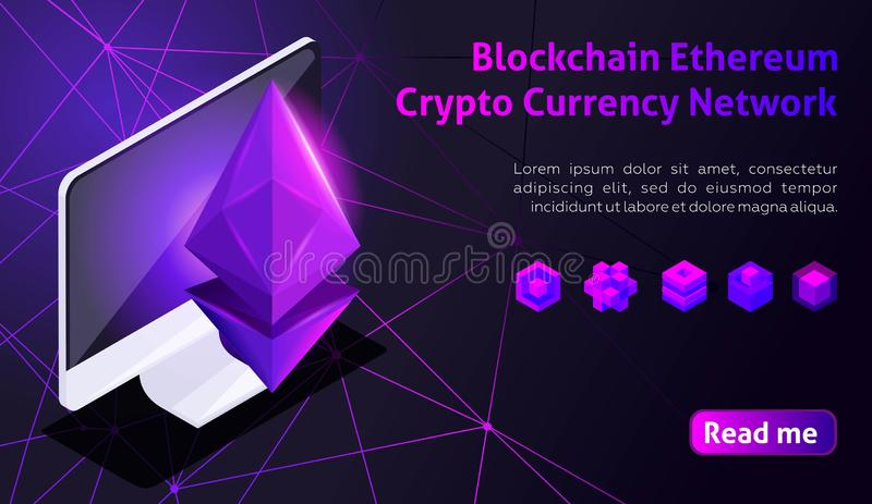 Isometry icon Blockchain Ethereum Crypto Currency Network, analysts and managers working on crypto start up, computer, tablet, col stock illustration